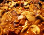 Baked onion-mushroom steak