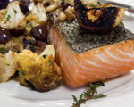 Pan Seared Salmon with Cauliflower and Pine Nuts