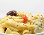 Pasta with Chicken, Olives, Red Peppers and Artichokes