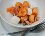 Prosciutto and Cantaloupe Salad with Mozzarella Balls and Mint