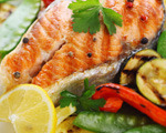 Lemon grilled salmon and summer vegetables
