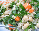 Rice and Garbanzo Bean Salad with Kale