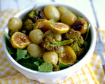 Roasted grape, broccoli and sweet onion salad