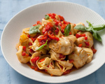 Roasted Red Pepper and Artichoke Cheese Tortellini