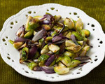 Roasted Brussels Sprouts with Rosemary and Red Onions