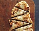 Grilled fontina and onion pizza