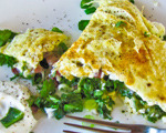 Sautéed Greens and Spring Onion Omelet