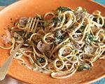 Spaghetti with Chicken, Portabella Mushrooms and Spinach