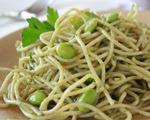 Spaghetti with Green Sauce and Edamame