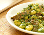 Stir-Fried Beef with Winter Pesto on Gnocchi