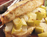 Stuffed Pork Chops with Apples, Walnuts and Gruyere Cheese