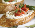 Tomato Bruschetta with Honey and Fresh Ricotta