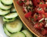 Tomato Salsa with Cucumber Chips