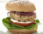 Turkey burger with Chobani horseradish sauce