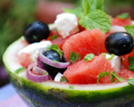 Watermelon Salad with Fresh Mint and Feta Cheese