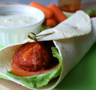 Buffalo chicken wraps with homemade blue cheese dressing