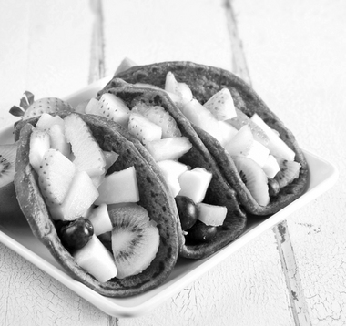 Fruit tacos with chocolate tortillas